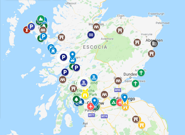 Mapa de Escocia para viajar por libre.